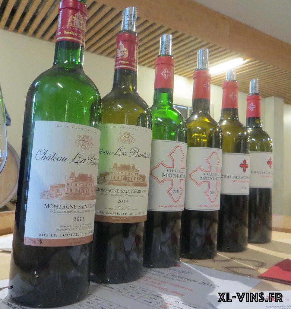 Les vins dégustés de Château Moncets et Château de Chambrun