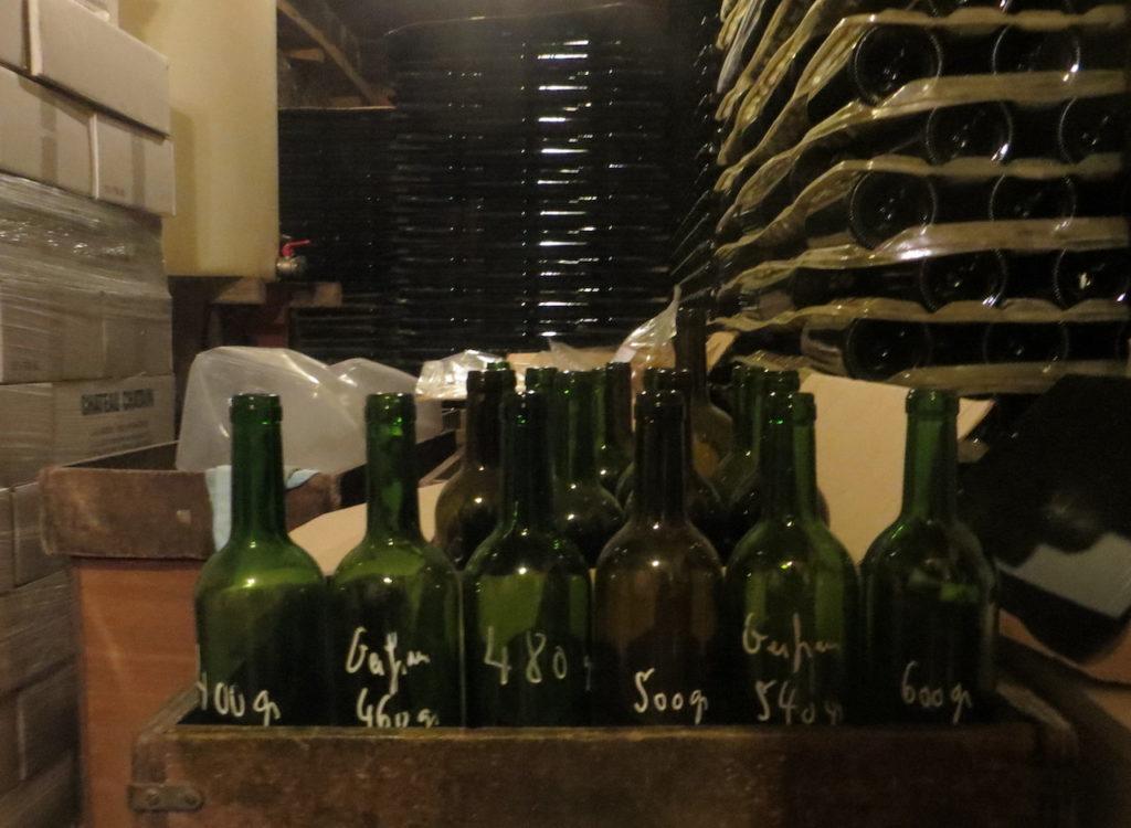 Les différentes bouteilles et leurs poids respectifs