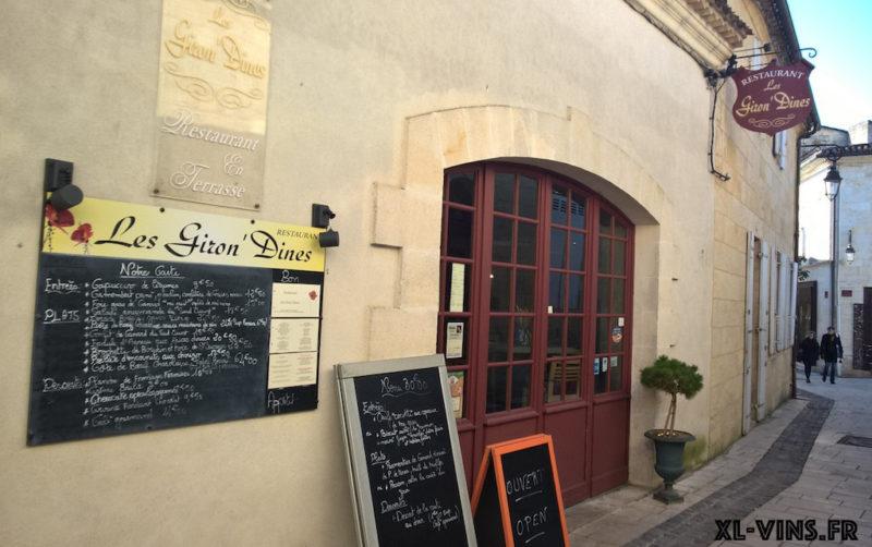 Restaurant Les Giron'Dines, Saint-Emilion, Bordeaux